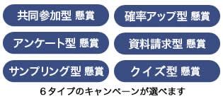 6つのキャンペーンパターンを選べる