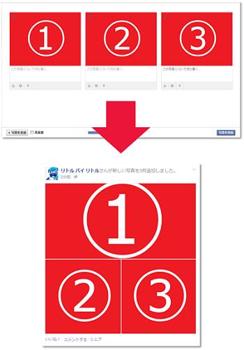 Facebook】複数画像の並び方の法...
