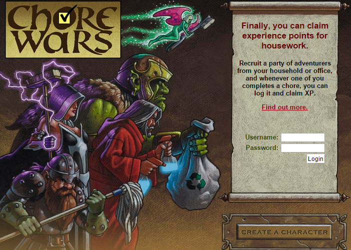 Chore Wars Claim Experience Points for Housework
